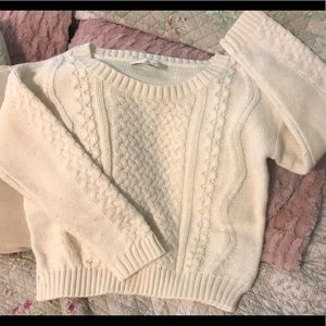 LC Lauren Conrad Cream Cable Knit Cropped Sweater